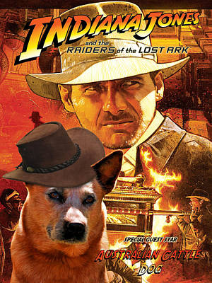 Cattle Dog Painting - Australian Cattle Dog Art Canvas Print - Indiana Jones Movie Poster by Sandra Sij