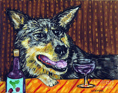 Cattle Dog Painting - Australian Cattle Dog Art The Wine Bar by Jay  Schmetz