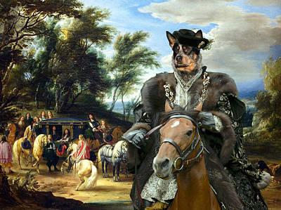 Australian Cattle Dog Canvas Print - Philippe Francois D'arenberg Meeting Troops Art Print by Sandra Sij