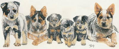 Herding Dog Mixed Media - Australian Cattle Dog Puppies by Barbara Keith