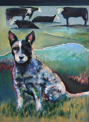 Cattle Dog Painting - Australian Cattle Dog With Coat Of Many Colors by Carol Jo Smidt