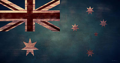 Aged Wood Digital Art - Australian Flag I by April Moen