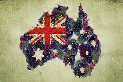 Australian Continent Painting - Australian Flag Map Fruits And Vegetables by Eti Reid