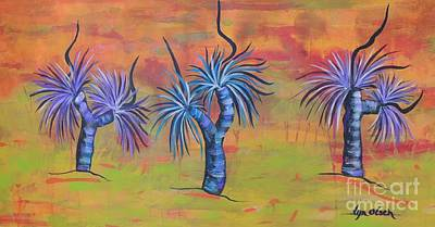 Art Print featuring the painting Australian Grass Trees by Lyn Olsen
