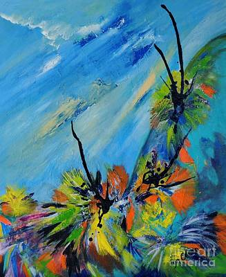 Art Print featuring the painting Australian Grasstrees by Lyn Olsen