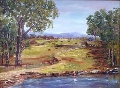 Painting - Australian Landscape Children Fishing by Renate Voigt