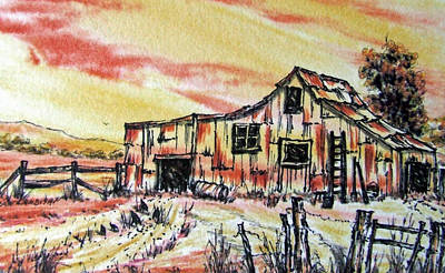 Painting - Australian Outback Farm by David Clode