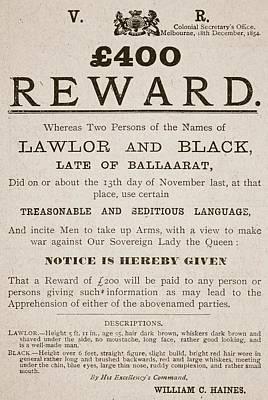Australian Reward Poster, 1854 Art Print