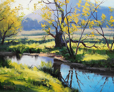 Impressionism Paintings - Australian River Painting by Graham Gercken