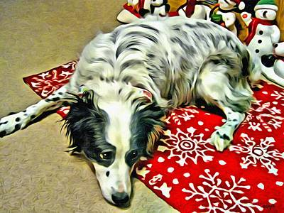 Photograph - Australian Shepherd Happy Holidays by Rebecca Korpita