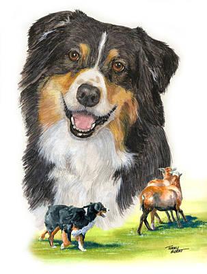 Australian Shepherd Herding Art Print