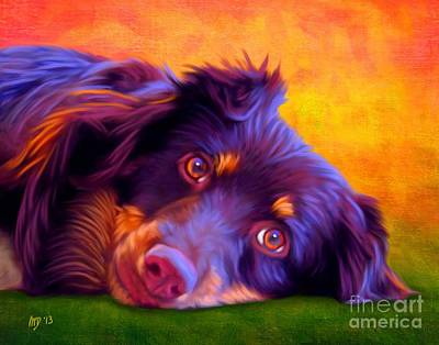 Buy Dog Art Digital Art - Australian Shepherd Portrait by Iain McDonald