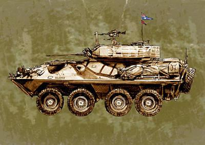 Australian Mixed Media - Australian's New Army Tank - Stylised Art Sketch Poster by Kim Wang