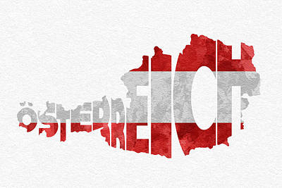 Drawing - Austria Typographic Map Flag by Ayse Deniz