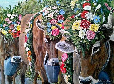 Brown Swiss Painting - Austrian Cattle Drive by Ruanna Sion Shadd a'Dann'l Yoder