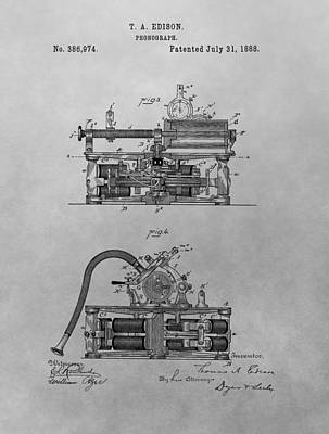 Player Drawing - Authentic Thomas Edison Phonograph Patent by Dan Sproul