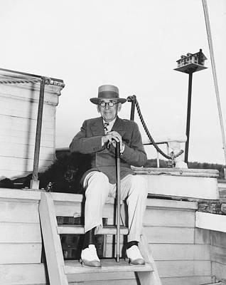 Senior Dog Photograph - Author Booth Tarkington by Underwood Archives