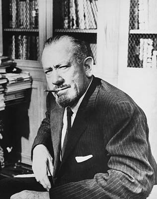 Focus On Foreground Photograph - Author John Steinbeck by Underwood Archives