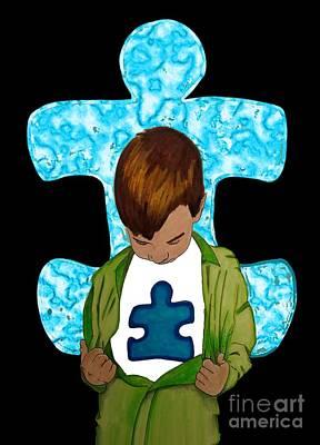 Sara Habecker Folk Print - Autism Awareness by Justin Moore