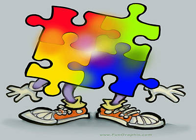 Featured Tapestry Designs - Autism Puzzle by Kevin Middleton