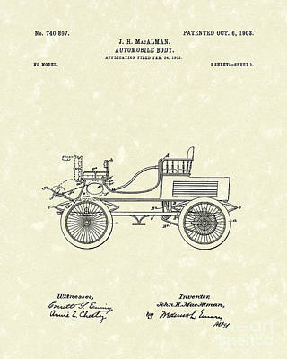 Drawing - Auto Body 1903 Patent Art by Prior Art Design