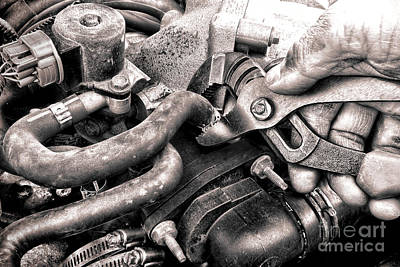 Auto Repair Art Print by Olivier Le Queinec