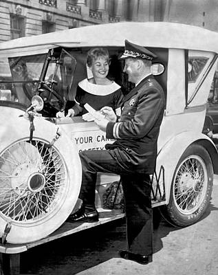 Police Officer Photograph - Auto Safety Check by Underwood Archives