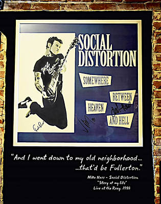 Photograph - Autographed Poster Of Rock Legend Mike Ness  by Renee Anderson