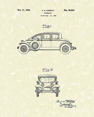 Drawing - Automobile 1930 Patent Art by Prior Art Design