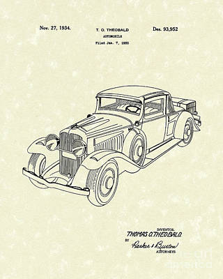 Drawing - Automobile 1934 Patent Art by Prior Art Design