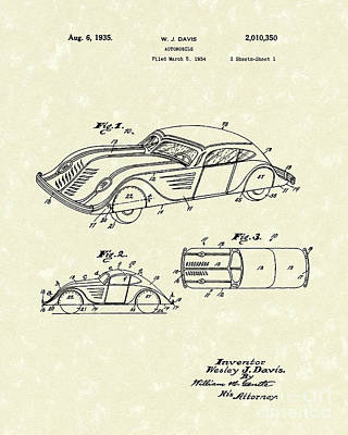 Batman Drawing - Automobile 1935 Patent Art by Prior Art Design