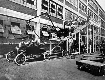 Factory Photograph - Automobile Assembly Line by Underwood Archives