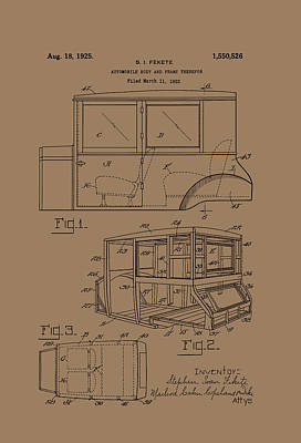 Automobile Body And Frame Patent 1925 Art Print by Mountain Dreams