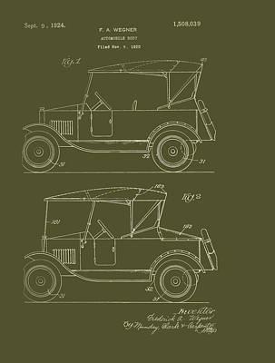 Automobile Body Patent 1924 Art Print by Mountain Dreams