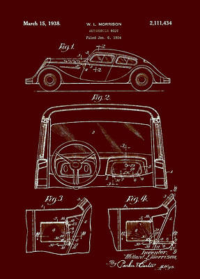 Automobile Body Patent 1938 Art Print by Mountain Dreams