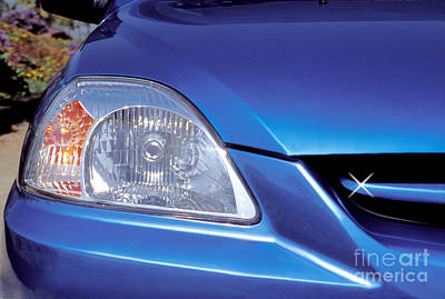 Photograph - Automobile Head Light Blue Car by David Zanzinger