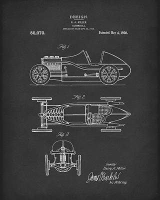 Drawing - Automobile Miller 1920 Patent Art Black by Prior Art Design