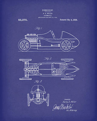 Motorcar Drawing - Automobile Miller 1920 Patent Art Blue by Prior Art Design
