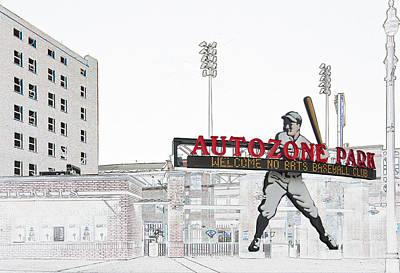 Digital Art - Autozone Park Memphis by Liz Leyden