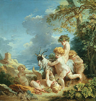 Cherub Photograph - Autumn, 1731 Oil On Canvas by Francois Boucher