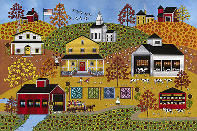 Quilts Painting - Autumn Adventure by Medana Gabbard