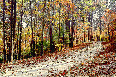 Watercolor With Pen Photograph - Autumn Along Powell's Gap Road - Mp 89.1 - November 1999_n-25 by Byron Spencer
