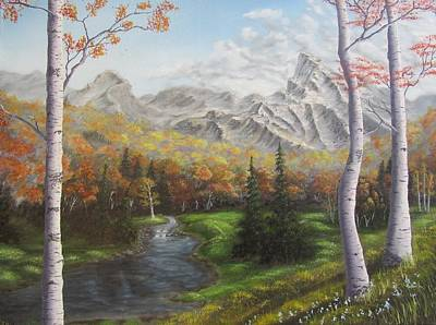 Babbling Brook Painting - Autumn Alpine Meadow by Gavin Kutil