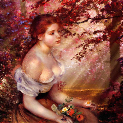 Painted Ladies Painting - Autumn And The Lonely Wait - Dedication by Georgiana Romanovna