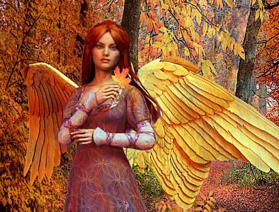 Autumn Angel 2 Art Print by Suzanne Silvir
