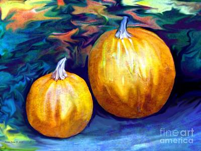Painting - Autumn Artwork With Pumpkins by Annie Zeno