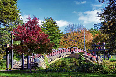 Autumn At Bradley Park Japanese Bridge 03 Art Print