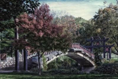 Autumn At Bradley Park Japanese Bridge Textured Art Print
