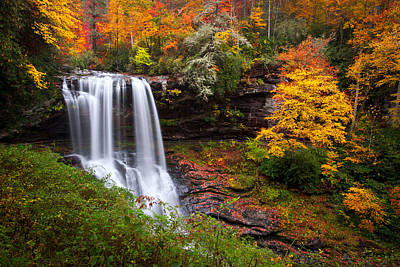 Maple Leaf Art Photograph - Autumn At Dry Falls - Highlands Nc Waterfalls by Dave Allen