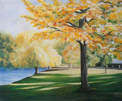 Art Print featuring the painting Autumn At Lake Explanade by Jane  See